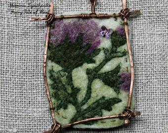Felted pendant, Felt necklace, Felt accessory,  The  pendant Thistle, Boho style, Holiday gift, Hand-made