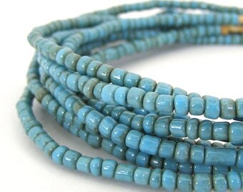 190 Vintage Turquoise Blue African Trade Glass Seed Beads - 4mm