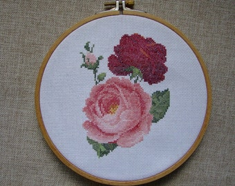 Roses Cross Stitch Pattern, Flower, PDF - instant download, Home Wall Décor, Gift, Needlework