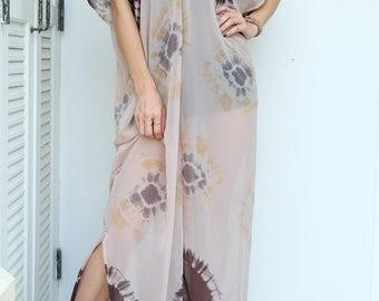 Brown Beige Tie-Dye Chiffon Beach Dress Swimsuit Bikini Cover Up | Casual Maxi Short Sleeve Dress | Spring/Summer Dress