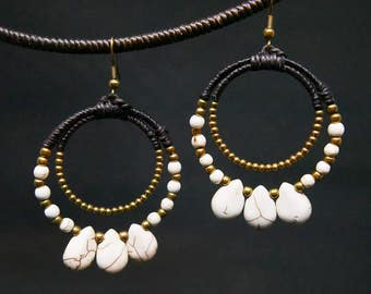White Turquoise Charm Drop I Hoop Dangle Gold Beaded Earrings Handmade Jewelry Brass Hook