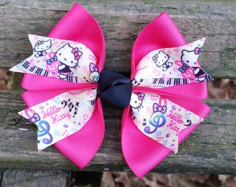 Hello Kitty Music Hair bow (music notes/piano) 4 inch