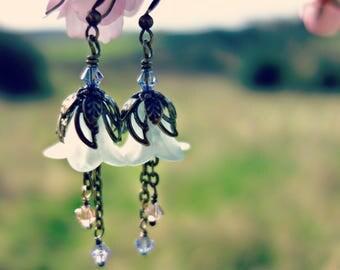 Pastel Earrings - Light Green Earrings - Mint Green Earrings - Flower Earrings - Frosted Earrings - Bell Flower Earrings - Spring Pale Green
