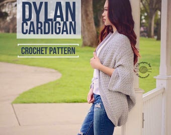 Dylan Cardigan PATTERN   Crochet Cardigan Pattern   Crochet Shrug Pattern   Sweater Pattern   Shrug Pattern   Instant Download Pattern