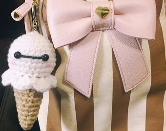 Baymax Ice Cream Cone Keychain, Baymax Keychain, Baymax Ice Cream Keychain, Baymax Crochet, Baymax Amigirumi