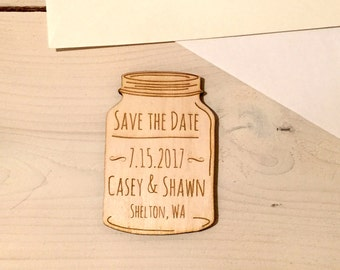 Save The Date Magnets - Custom - Wooden - Mason Jar