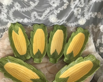 Vintage 1974 Vintage Corn Holders / Pottery Corn on the Cob Dishes / Ceramic Dinnerware / Set of 6 Cob Holders