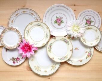 Vintage China,Mismatched China Set,Set of Twelve(12) Assorted Plates,Wedding,Bridal,Shower,Tea Party,Holiday,China,Dishes,Gift