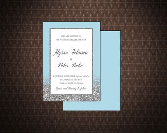 Wedding Invitation, Light Blue and Silver Printable Wedding Invitation, Digital Invitation, code-048-1