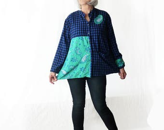 Womens flannel shirt, black, blue, checked shirt, artsy top, size medium large, artsy, Upcycled  clothing, tunic, one of a kind, paisley