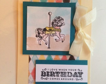 Handmade Carousel Birthday cards