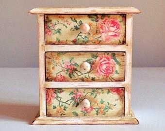 3 Drawer Jewelry Decoupage Box-Shabby Chic-Romantic Roses-Jewelry Chest-Chest of Drawers-Jewelry Organizer-Jewelry Wooden Box-White