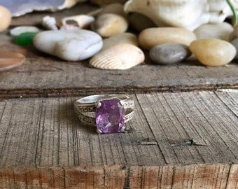 Vintage Sterling Silver and Large Amethyst with Zircon Accents Ring