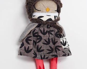 Tiny Owlet Linen Doll - screen printed details, fluffy wing, coral, black, grey
