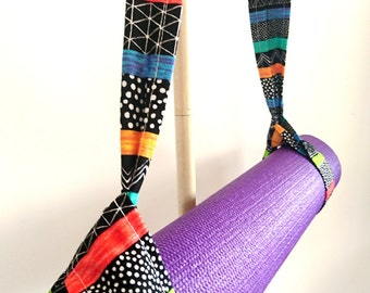 Adjustable Yoga Mat Strap, Yoga Mat Sling, Pilates Mat Sling, Pilates Mat Strap, Yoga Pilates Mat Towel Carrier, Spots, Stripes, Colorful