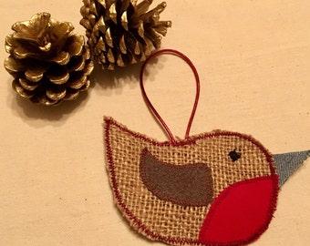 Christmas robin tree decoration, Hessian Christmas robin, Christmas tree decor, rustic Christmas decoration, vintage christmas decor, Xmas