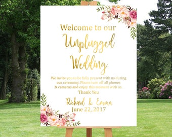 Gold Boho Personalised Unplugged Wedding Printable Sign, Floral Unplugged Wedding Sign, Unplugged Welcome Sign, No Cell Phone Download 110-G