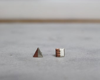 Square and Triangle earrings, Mixed Metals, Etched Copper and Sterling Silver,