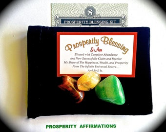 PROSPERITY KIT-Attract PROSPERITY to you-Law of Attraction- 17 Affirmations, 1 Prosperity Blessing Magnet, 3 Money Crystals, Velvet Bag