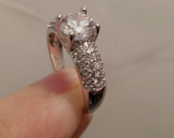 Engagement Wedding Rings Cubic Zirconia Platinium Plated