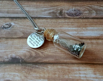 "Stainless steel necklace bottle ""i you in my heart until will hold i hold you in heaven"""