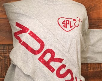 Monogrammed Nurse Shirt, Monogrammed Stethoscope Shirt, Glitter Nurse RN LPN MA cna Sleeve Design, Nurse Shirt, Glitter Monogram Shirt