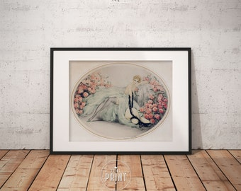 Belle Rose by Louis Icart , Art deco Wall Art, Framed print,  PP056