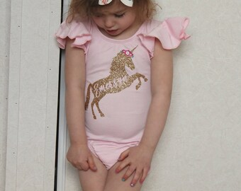 Personalized Leotard, Unicorn Shirt with name, Easter Basket Stuffers, Toddler gymnastics leotard, dance leotard, Custom ballet leotard