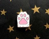 Lucky Kitty Paw - White Cat Paw Hard Enamel Brooch - Cat Lapel Pin - - Cat Gifts - Cat Jewellery