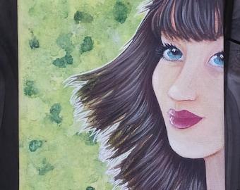 Portrait of woman, original canvas, Acrylic paint