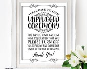 Unplugged Ceremony Poster - INSTANT DOWNLOAD - Wedding Art, No Social Media Sign, No Cameras, No Phones, Wedding Poster, Wedding Sign