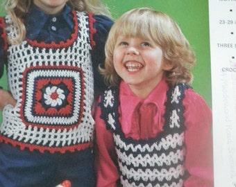 1970's childrens crocheted tank top pattern, original not pdf, emu pattern 6491,