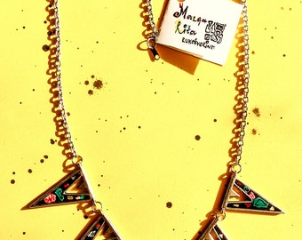 Triangle mosaic epoxy hand painted colorful  statement  necklace