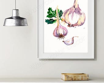 Garlic Watercolor Art Print - Vegetable Watercolor - Kitchen Wall Decor - Kitchen Art Print Housewarming Gift