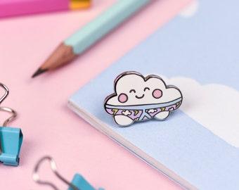 Thunderpants Cloud Enamel Lapel Pin | cute hat pin badge