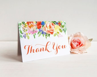 Thank You Greeting Card Note Card with Metallic Envelope