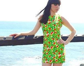 Vintage 60s 70s Green Floral Dress Mod Scooter Girl Twiggy