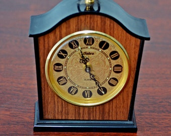 Vintage Alarm Clock, Sabre Clock, Small Bedside Clock