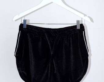 70's Black Velour Shorts With White Detail
