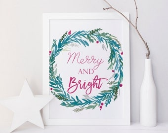 Christmas wall art, Merry and Bright print, Christmas Printables, Christmas Wall Art Print, Christmas Wreath Print, Green, party sign print