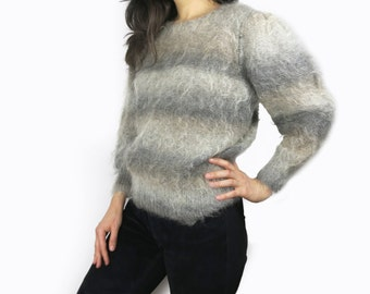 Grey Mohair Gradient Sweater Size Small