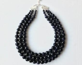 Sandstone Necklace -Multistrands Necklace -Blue Necklace -Silver Nekclace -Statement Necklace -Stunning Necklace -Beaded Necklace -UK Shop