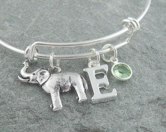 Elephant bracelet, silver elephant jewelry, initial bracelet, swarovski birthstone, adjustable bangle, elephant charm, animal jewelry