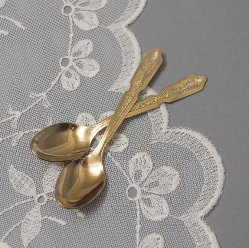 Vintage Tea Spoon Set Of 2 Gold Tone Spoons For Tea Or Coffee