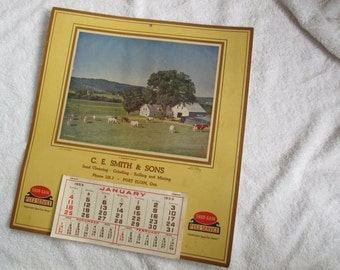 1953 Shur-Gain Farm Calendar / Vintage farm feed calendar / Port Elgin feed service advertising ephemera