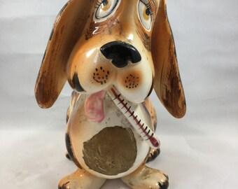 Vintage Ceramic Get Well Sick Basset Hound Planter