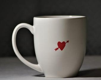 Heart and Arrow Hand Painted Mug