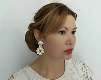 Bridal Earrings Chandelier, Wedding Earrings Chandelier, Pearl Chandelier Earrings, Chandelier Earrings Vintage Earrings Jewelry - ILONA