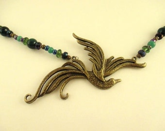 Swooping Bird Beaded Necklace