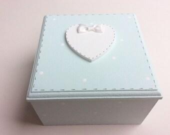 Personalised Jewellery Box - Trinket Box Handpainted Box, Handmade Box, Christening Gift, Birth Gift, Duck Egg.